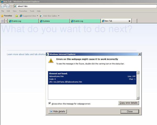 Internet Explorer 8 Error On tabswelcome.htm